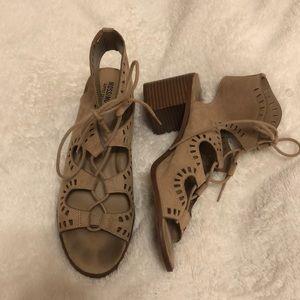Sued tie up heels